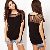 New 2014 Summer Casual Women Thin Loose Polka Dot Gauze Patchwork Tops Tees Asymmetric Short Sleeve T Shirts, Black, S, M, L, XL