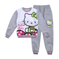 2014 new baby girls kitty cartoon character Long Sleeve thick t-shirts + pants 2pcs set children winter clothing 100% cotton