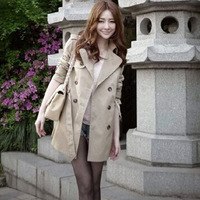 2015 Woman Autumn & Winter Coat Women Long trench Slim Fashion Coats Double breasted  S,M,L D283 New arrival