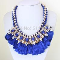2014 New Boho Style Statement Jewelry Tassel Silk Multilayer Gold Chain Crystal Beads BIB Necklaces KK-SC658