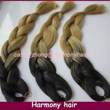 Frete mais barato ! ( 3pcs / lot ) 24inch Black & 27M Ombre dois tons coloridos Kanekalon Jumbo cabelo Braid(China (Mainland))