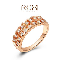 ROXI Retro Designer 2 Rows Clear Crystal Classic Rings For Women Rose Gold Plated Vintage Wedding Ring For Party Bride Anel Ouro