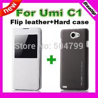 Original Flip leather case +Hard plastic cover for Umi C1 MTK6582 Quad core phone 1 pcs free shipping black white available