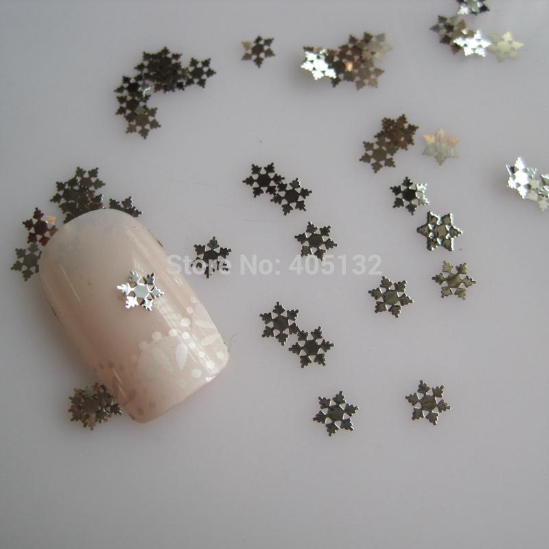 MS-322-1 Free Shipping Metal Silver Snowflake Nail Art Metal Sticker Nail Art Decoration Fancy Outlooking(China (Mainland))