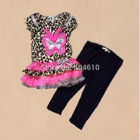 Children's  girls summer short sleeve  big butterfly leopard  t-shirt  with cake hem +  leggings pants  2pieces sets  ETJ-T0325