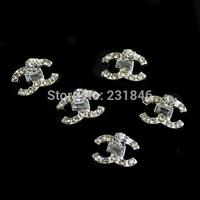 New 30PCS/LOT Logo Design 3D Jewelry Nail Art DIY Decoration Glitter Crystal Rhinestones Alloy Phone Cover Manicure Craft 12*8MM