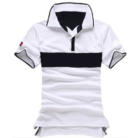 NEW camisa polo fashion men's short sleeve collar stitching quality casual Polo shirt 100% cotton boys brand design genuine Tees