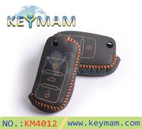 Free shipping 2014 LUCKEASY vw key case, Skoda Remote Control Genuine Leather key cases,car key bag