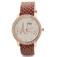 2014 New fashion Retro golden Paris Eiffel Tower leather diamond watches Women Dress Watch Casual Quartz leather Watches JW1707