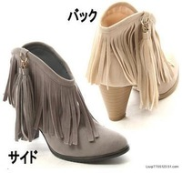 Free shipping new 2014 Bohemia tassel boots pure color female thick high short cylinder big size ankle boots heels suede boots