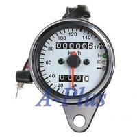 2014 New Arrivals Universal Motorcycle Dual Odometer Speedometer Gauge Test Miles Speed meter SV005127