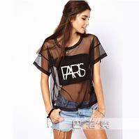 Free shipping Printed gauze patch through a sense of female short-sleeved round neck t-shirt punk style nightclub