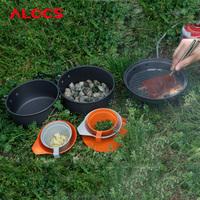 2-3 People 9PCS Camping Cookware Set 680g Hard Alumina Pot Outdoor Pan Bowl Frying Pans Cup Cloth Fabric Picnic C11