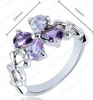 (2pcs/lot)Elegant Crystal   Ring 18K Gold Plated Made with Genuine Austrian Crystals Full Sizes Wholesale price
