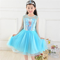 Free shipping!new 2014 Custom-made Movie Cosplay dress summer girls dress Costume Princess Elsa Dress from Frozen for Children