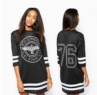 2014 new European and American  BOY London Eagle Print  Half Sleeve  Hollow Gauze Dress Black Color