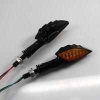 2XUniversal Motorcycle 12V LED Turn Signal Indicator Light LED turn light Ghost hand Turn Signal Indicator Light