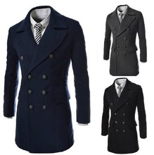 Wholesale - winter fashion mens jacket long trench coat men outdoors coats & jackets Casual polo wool & blends(China (Mainland))