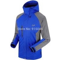 2014 Men's Outdoor fleece Waterproof Hiking Hoodies Windbreaker Ski coats Jackets Camping Wear Double Layer 2in1 Sking Outerwear