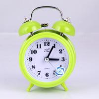 Free shipping round black metal bell alarm bell round pointer mute scanning bedside alarm clock awakened snooze