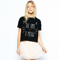 Free shipping 2014 New petite short paragraph The Time is Meow cat printed black round neck short sleeve T shirt