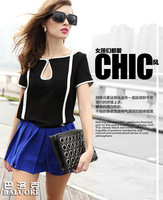 Free shipping New European style big fan of black and white modern retro hit color chiffon short sleeve T- shirt