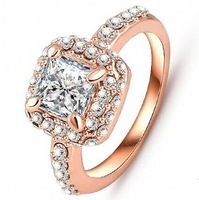 (2pcs/lot)Elegant Crystal   Ring 18K Gold Plated Made with Genuine Austrian princess   Crystals Full Sizes Wholesale price