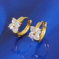Flower Cluster Swarovs Crystal 18k Yellow Gold Filled GF Huggie Hoop Earrings Free Shipping