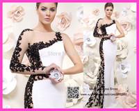 Robe De Soiree White One Shoulder Long Evening Dresses Lace Mermaid Prom Gowns 2015 Transparent Tarik Ediz E6090
