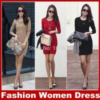 2014 Autumn new women's dress women o-neck long sleeve dress OL temperament was thin bottoming dress Black Red White dress S-5XL
