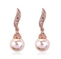 Fair maiden temperament of fashion leaf shape angel wings of Austrian crystal pearl earrings Fashion Jewelry 60080E097