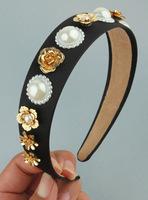 European and American retro metal flowers baroque pearl hair bands Wide hoop hairpin female headdress hair accessories