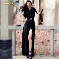 Free Shipping 2014 Autumn New Fashion Womens Slim Split Button Long Maxi Dress High Waist Elegant Black Floor Length Dress S-XXL