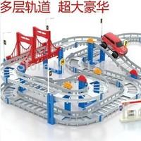 Free shipping multi-track electric rail car boy toy car track car Thomas train track children's toys