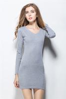 Dresses Women Knitting Cotton Dresses Korea Style Slim Casual Dress Fit Autumn winter W3372