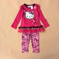 clothing set Children's  girls spring & autumn cartoon cat t-shirt  with tutu hem +pants leggings  2pieces sets  ETJ-T0326