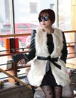 2014 Women Fashion Winter Fur & Faux Fur Vest Sleeveless long Belt Thick Warm Plus size Women Waistcoat Outwear