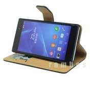 5pcs Capas Para Top Premium Genuine Leather Wallet Book Flip Case Cover for Sony Xperia Z2