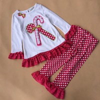 clothing set girls spring autumn cartoon Christmas long sleeves t-shirt with lace hem +dot  trousers  2pieces sets  ETJ-T0327