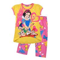 new 100% cotton summer cartoon snow white princess girls short sleeve t-shirt+leggings casual set baby clothing free shipping