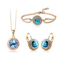 2014 new design gold bridal crystal jewelry set, Tz-1075