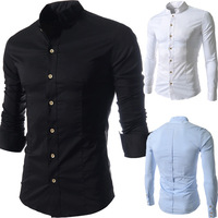 Free Shipping Korean Stylish Men's Business Casual Slim Fit Shirts Tops Stand Collar Skinny Long Sleeve Dress Shirts