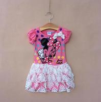 girl dress summer girls dress children's clothing print cartoon mouse with bow  lace dresses   ETJ-Q0198
