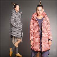 Fashion 2014 new design winter ladies duck down jackets women's polka dot high collar long winter warm casual coat & down-jacket
