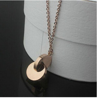 Gurantee 100% 316L Titanium Steel 18k rose gold plated double-circle fashion long statement necklace for women 2014 vintage N432