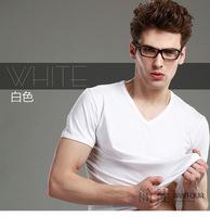 [J.C] Brand Spring Summer men's Solid army green denim blue red black white gray V neck short sleeve tee shirt cotton Lycra Tops