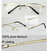 Free shipping  100% Pure Titanium eyeglasses half-rim   eyewear frame Men's glasses Ultra light FLB44086  Fr*d