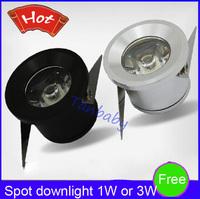 Free shipping 5pcs/lot Mini led spot downlight 1W 3W cabinet lamp white,warm white AC85-265V include led driver mini light