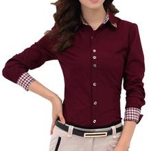2014 Otoño Nueva Patchwork Plaid Oficina Mujeres Camisas camisa de las señoras OL Básica Top Vestido Blusas Blusa Oficio con título CS4526(China (Mainland))