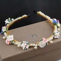 Handmade ceramic flower hair hoop pearl headband wedding banquet necessary small fresh hairpin hair accessories